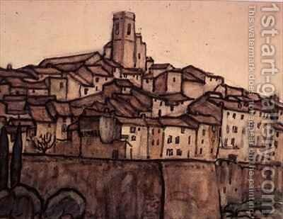 View of a Walled Town with Roof Rising to a Square Tower on a Hill by Anne L. Falkner - Reproduction Oil Painting