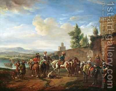 A Hunting Party by a Country House by Carel van Falens or Valens - Reproduction Oil Painting