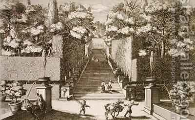 The grand staircase at the Villa dEste Tivoli by (after) Falda, Giovanni Battista - Reproduction Oil Painting