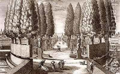 Theatre of cypress trees by (after) Falda, Giovanni Battista - Reproduction Oil Painting