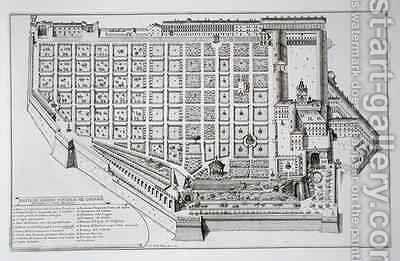 Papal Garden and Palace of the Quirinale by Giovanni Battista Falda - Reproduction Oil Painting