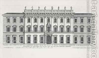 View of the facade of Palazzo Chigi by Giovanni Battista Falda - Reproduction Oil Painting