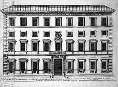 View of the facade of Palazzo Marchese by Giovanni Battista Falda - Reproduction Oil Painting