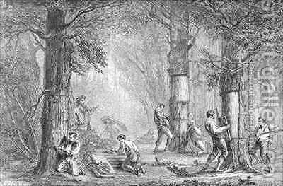 Bark Gathering the Bark of the Cork Tree by (after) Faguet, A. - Reproduction Oil Painting