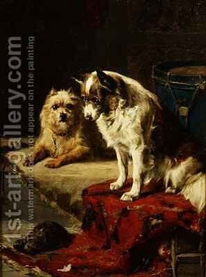 Dogs and a Tortoise by Charles van den Eycken - Reproduction Oil Painting