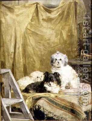 Three Dogs by Charles van den Eycken - Reproduction Oil Painting