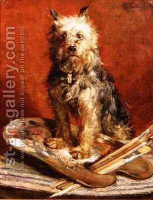The Artists Dog by Charles van den Eycken - Reproduction Oil Painting