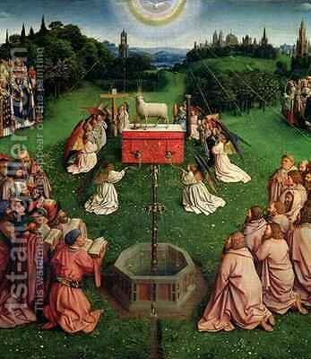 The Ghent Altarpiece main panel depicting The Adoration of the Mystic Lamb by Hubert & Jan van Eyck - Reproduction Oil Painting
