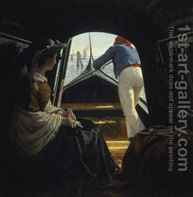 In the Gondola by Johann Julius Exner - Reproduction Oil Painting