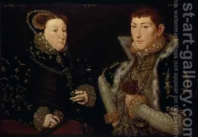 Lady Mary Nevill and her son Gregory Fiennes by Hans Eworth - Reproduction Oil Painting