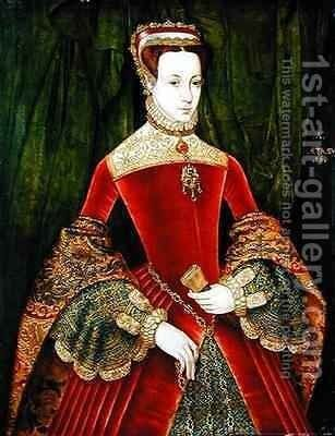Portrait of a Woman aged 16 previously identified as Mary Fitzalan Duchess of Norfolk by Hans Eworth - Reproduction Oil Painting