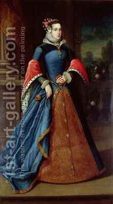 Lady Mary Fitzalan by (after) Eworth or Ewoutsz, Hans - Reproduction Oil Painting