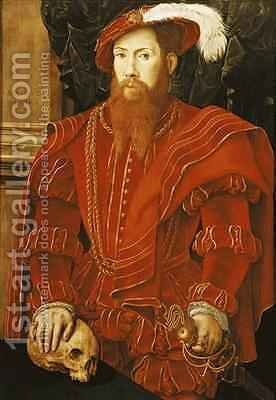 Portrait of a Gentleman of the English Court by (after) Eworth or Ewoutsz, Hans - Reproduction Oil Painting