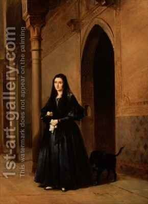 Lady in the Court of the Alhambra by Don Jose Escasena - Reproduction Oil Painting