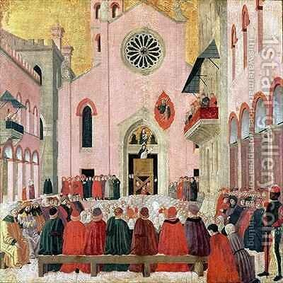 St Vincent Ferrer Preaching in front of the Church of Sant Eufemia in Verona by Bartolomeo degli Erri - Reproduction Oil Painting