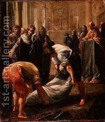 The Shrouding of Abbot Suger in the Basilica of St Denis in Paris in the presence of King Louis VII of France by Charles (the Elder) Erard or Errard - Reproduction Oil Painting