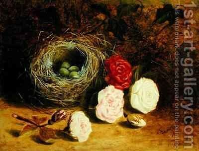 Still life of birds nest and roses by Mary Ensor - Reproduction Oil Painting