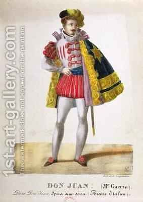 Costume for Monsieur Garcia in the Role of Don Juan in the Opera Don Giovanni by Gottfried or Godefroy Engelmann - Reproduction Oil Painting
