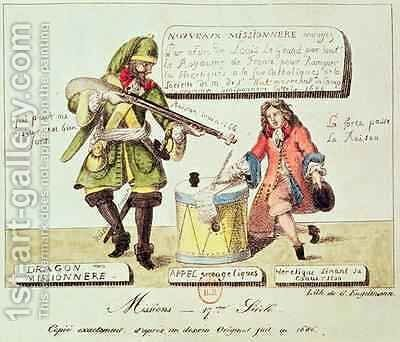 Missions of the 17th Century The Missionary Dragoon forcing a Huguenot to Sign his Conversion to Catholicism by Gottfried or Godefroy Engelmann - Reproduction Oil Painting