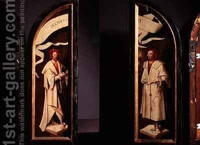 The Cleansing of Naaman Triptych side panels depicting the martyrs Cosmas and Damian protectors against sickness by Cornelis Engelbrechtsen - Reproduction Oil Painting