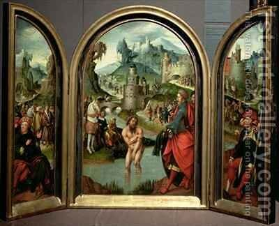 Triptych of the Cleansing of Naaman the centre panel depicts Naaman commander of the Syrian army washing in the River Jordan to cure his leprosy at the command of the prophet Elisha who in the background refuses gifts offered to him by Cornelis Engelbrechtsen - Reproduction Oil Painting