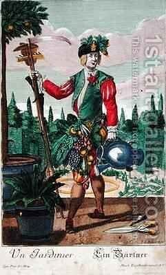 A gardener allegorical representation by Martin Engelbrecht - Reproduction Oil Painting