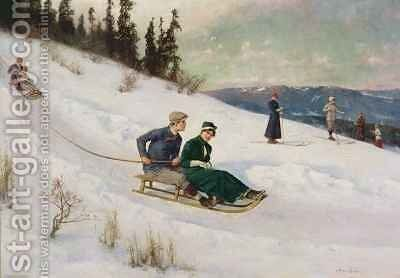 Sledge Riding and Skiing by Axel Ender - Reproduction Oil Painting