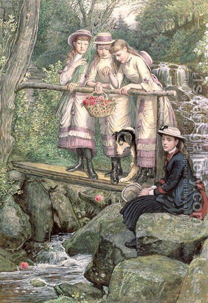 Four Girls and a Dog on a Bridge Over the Debdon Burn by Henry Hetherington Emmerson - Reproduction Oil Painting