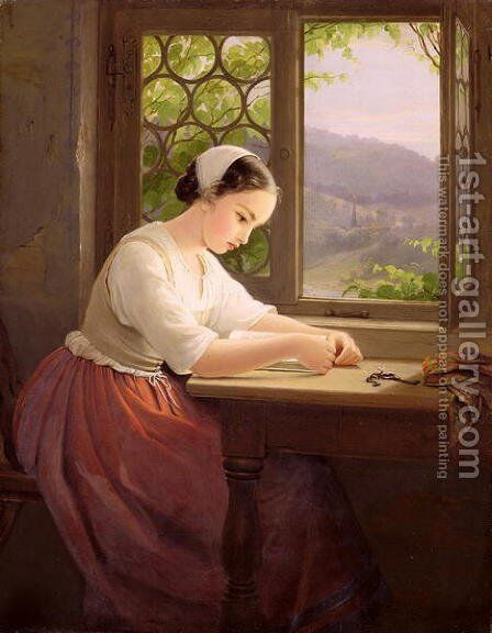 Girl reading by an open window by Caroline von der Embde - Reproduction Oil Painting