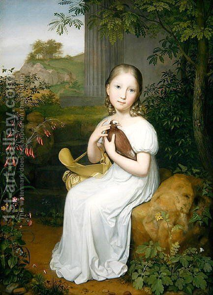 Portrait of Countess Louise Bose as a Child by August von der Embde - Reproduction Oil Painting