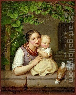 Mother with Child and Two Doves by August von der Embde - Reproduction Oil Painting