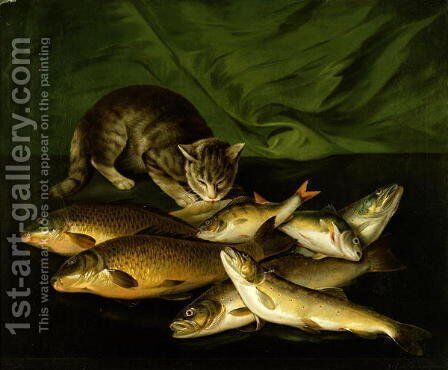 A Cat with Trout Perch and Carp on a Ledge by Stephen Elmer - Reproduction Oil Painting