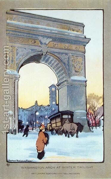 Washington Square Arch at Winter Twilight by (after) Elmer, Rachael Robinson - Reproduction Oil Painting