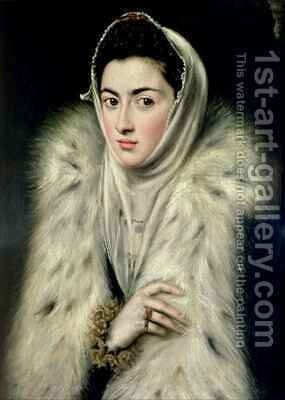 Lady in a Fur Wrap by (after) El Greco, Domenico - Reproduction Oil Painting