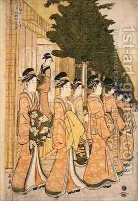 New Years Parade of the Beauties of the Green Houses by Choki Eishusai - Reproduction Oil Painting