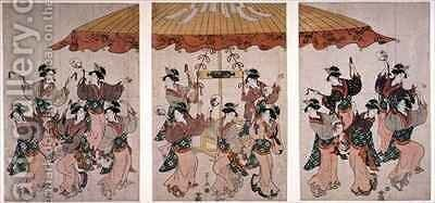 The Sumiyoshi Dance by Hosoda Eishi - Reproduction Oil Painting