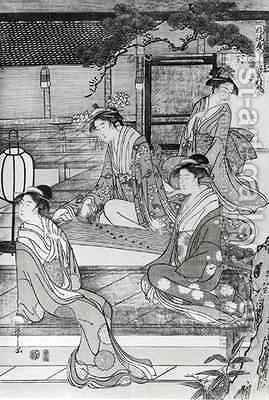 Woman playing the Koto by Hosoda Eishi - Reproduction Oil Painting
