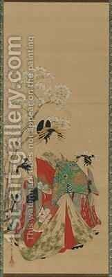 Beauties of the Seasons  Spring Edo Period by Hosoda Eishi - Reproduction Oil Painting