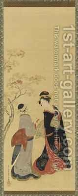 Beauties of the Seasons  Autumn Edo Period by Hosoda Eishi - Reproduction Oil Painting