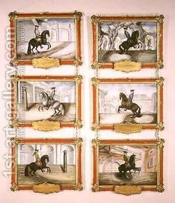 The Spanish Riding School six equestrian paintings by Baron Reis d' Eisenberg - Reproduction Oil Painting