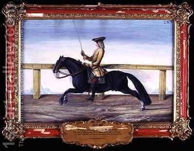 A black Spanish horse of the Spanish Riding School performing a dressage movement by Baron Reis d' Eisenberg - Reproduction Oil Painting