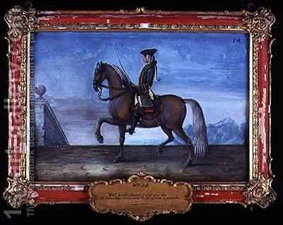 No 14 The horse Isabel of the Spanish Riding School performing a bold trot by Baron Reis d' Eisenberg - Reproduction Oil Painting