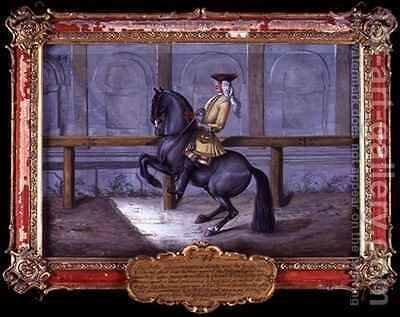 No 44 A Cap de More horse of the Spanish Riding School performing a dressage movement called a Curvet by Baron Reis d' Eisenberg - Reproduction Oil Painting