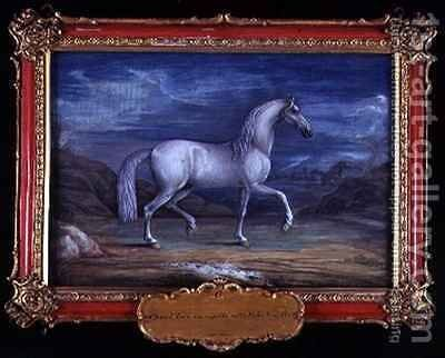 No 6 A Turkish grey horse of the Spanish Riding School by Baron Reis d' Eisenberg - Reproduction Oil Painting