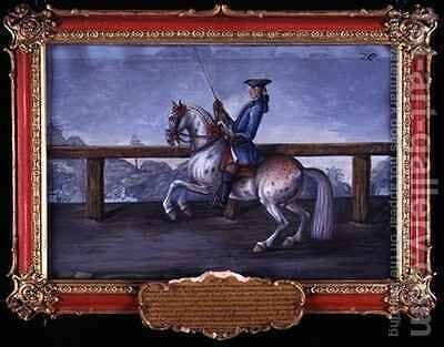 No 26 A red roan horse of the Spanish Riding School performing dressage steps by Baron Reis d' Eisenberg - Reproduction Oil Painting