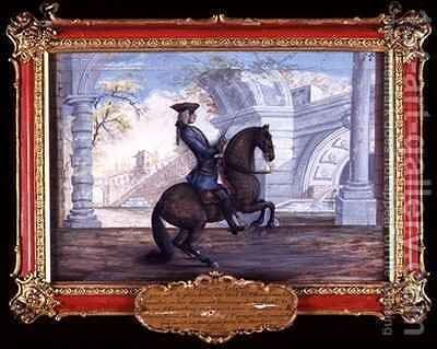 No 55 A Spanish dappled bay horse of the Spanish Riding School performing a dressage movement by Baron Reis d' Eisenberg - Reproduction Oil Painting