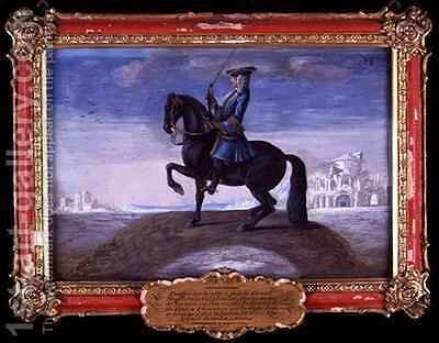 No 38 A Neapolitan Calabrian horse of the Spanish Riding School performing a dressage movement called the Piaffe by Baron Reis d' Eisenberg - Reproduction Oil Painting