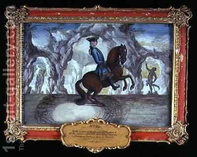 No 34 An alzan horse from the stud at Dietrichstein in Moravia performing a dressage movement of the Spanish Riding School by Baron Reis d' Eisenberg - Reproduction Oil Painting