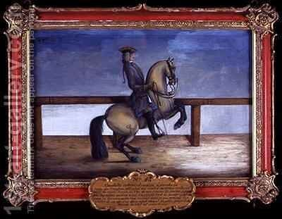 No 45 A horse of the Spanish Riding School performing a dressage movement called the Courbette by Baron Reis d' Eisenberg - Reproduction Oil Painting