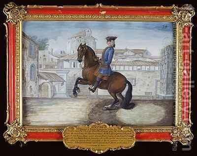No 35 A Barbary bay horse of the Spanish Riding School performing a dressage movement in St Marks Square Florence by Baron Reis d' Eisenberg - Reproduction Oil Painting